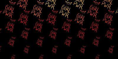 pano de fundo vector laranja escuro com símbolos de poder da mulher.