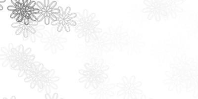 fundo do doodle do vetor cinza claro com flores.