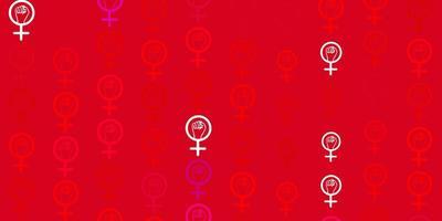 textura vector roxo, rosa claro com símbolos de direitos das mulheres.