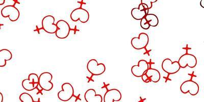 fundo de luz vermelha vector com símbolos de poder da mulher.