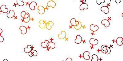 padrão de vetor vermelho e amarelo claro com elementos do feminismo.