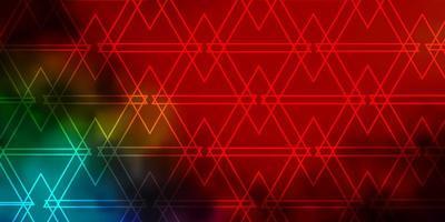 layout de vetor multicolorido escuro com linhas, triângulos.
