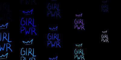 textura vector rosa escuro, azul com símbolos dos direitos das mulheres.
