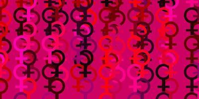 pano de fundo vector rosa claro com símbolos de poder da mulher.