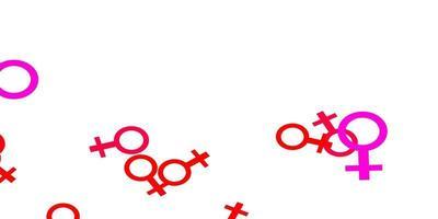 textura vector rosa claro com símbolos dos direitos das mulheres.