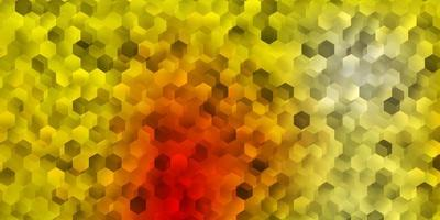 pano de fundo vector laranja claro com um lote de hexágonos.