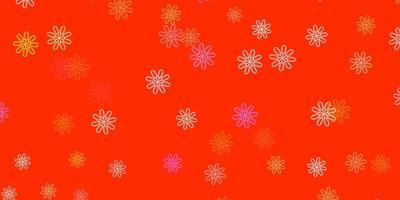 padrão de doodle de vetor rosa e amarelo claro com flores.