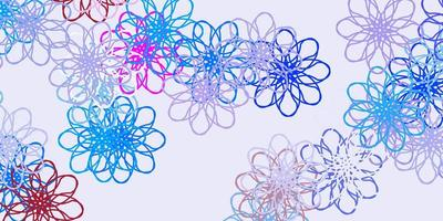luz multicolor vetor doodle fundo com flores.