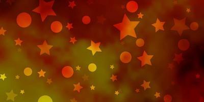 textura de vetor laranja clara com círculos, estrelas.