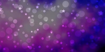 layout de vetor de luz roxa com círculos, estrelas.