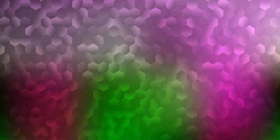modelo de vetor rosa claro, verde em um estilo hexagonal.