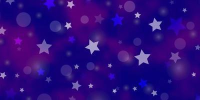modelo de vetor roxo claro com círculos, estrelas.
