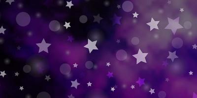 pano de fundo vector roxo claro com círculos, estrelas.