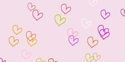 fundo vector rosa claro, verde com corações.