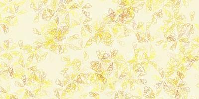 padrão abstrato de vetor amarelo claro com folhas.