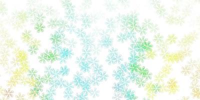 fundo abstrato do vetor azul, amarelo claro com folhas.