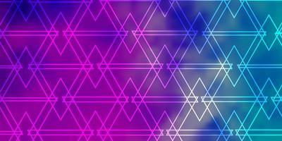 layout de vetor rosa claro, azul com linhas, triângulos.