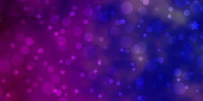 luz roxa, rosa vetor padrão com círculos, estrelas