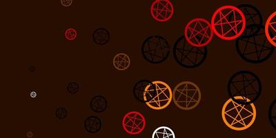 pano de fundo vector laranja claro com símbolos de mistério.
