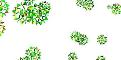 layout de vetor verde e amarelo claro com lindos flocos de neve.