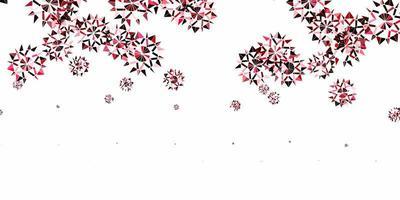 pano de fundo vector rosa, vermelho claro com flocos de neve de Natal.