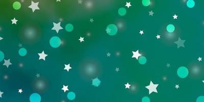 luz de fundo verde vetor com círculos, estrelas.