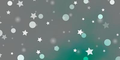 layout de vetor verde claro com círculos, estrelas.
