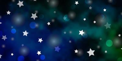 layout de vetor azul escuro e verde com círculos, estrelas.