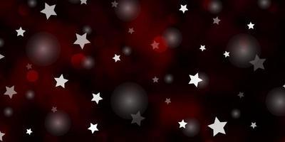 textura vector vermelho escuro com círculos, estrelas.