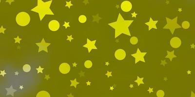 fundo amarelo claro do vetor com círculos, estrelas.