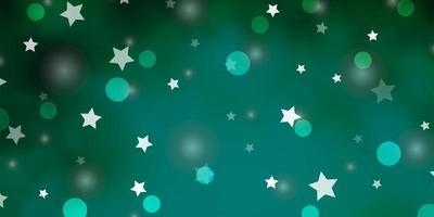 padrão de vetor verde claro com círculos, estrelas.