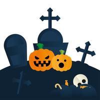 abóboras de halloween em desenho vetorial de cemitério