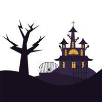 desenho vetorial de árvore e portão de casa de halloween vetor
