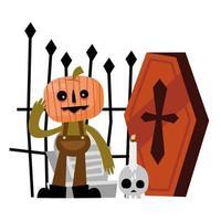 desenho vetorial de abóbora, sepultura e caixão de halloween