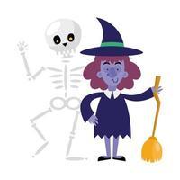 desenho de vetor de caveira de halloween e bruxa