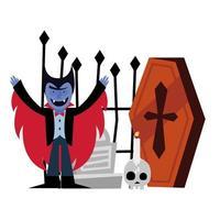 desenho animado de vampiro de halloween e desenho vetorial de caixão
