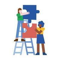 mulheres com quebra-cabeças no desenho vetorial de escada