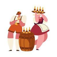 oktoberfest homem e mulher com desenho vetorial de garrafas de cerveja vetor