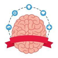 cérebro humano com ícones de saúde mental vetor