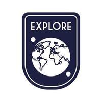 emblema do espaço com estilo de linha planeta Terra