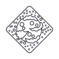 emblema do diamante do espaço com estilo de linha do planeta Marte