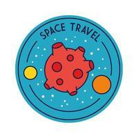 crachá de viagem espacial com linha do planeta de Marte e estilo de preenchimento