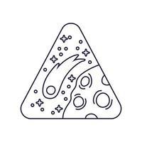emblema triangular do espaço com estilo de linha Marte planeta