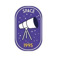 emblema do espaço com linha telescópica e estilo de preenchimento