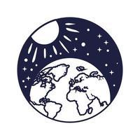 emblema do espaço com estilo de linha planeta Terra e sol