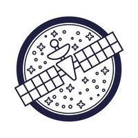 emblema do espaço com estilo de linha de satélite