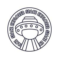emblema circular espacial com estilo de linha voadora ufo
