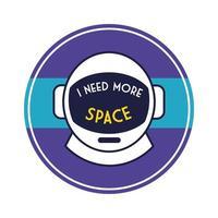 emblema circular espacial com linha de capacete de astronauta e estilo de preenchimento