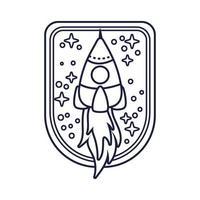 emblema espacial com estilo de linha de foguete