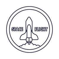 emblema circular espacial com estilo de linha voadora de nave espacial